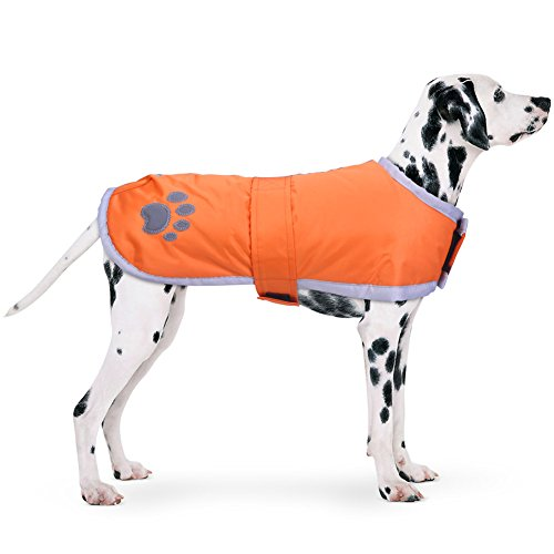 - PETBABA Dog Winter Jacket, Fleece Puffer Coat Warm Pet, Waterproof Reversible Parka Apparel Suitable Snow Cold Weather Christmas Holiday, Reflective Vest Safe at Night Walk - L in Orange