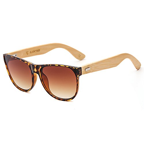SUERTREE Bamboo Sunglasses for Women Men Vintage Sun Glasses Retro in Wayfarer Style Classic Handmade Wooden Shades Fashion Woodies Eyewear Horn Rimmed UV400 Protection Demi Frame Brown - Latest Mens Glasses Styles