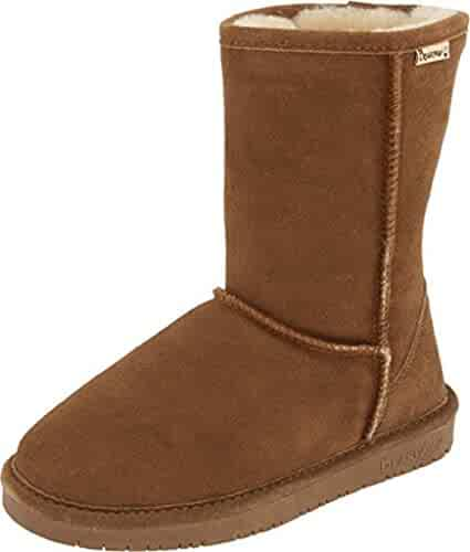 Bearpaw Women's Emma Hickory/Champagne Short Fur Lined Warm Snow Boot (8)