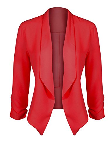 HOT FROM HOLLYWOOD Women's Classic Stretchy Cardigan Blazer with Curved Hemline and Shirring 3/4 - Hollywood Fashion Hot