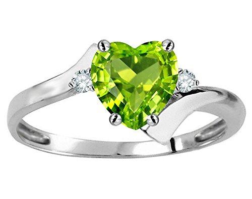 Star K Heart Shape 6mm Genuine Peridot bypass Ring 10 kt White Gold Size 6