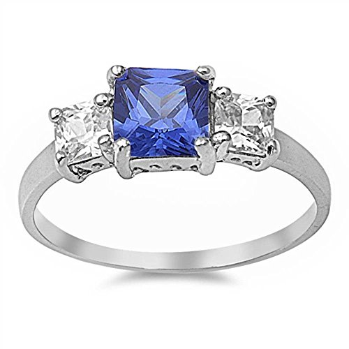 3 Stone Wedding Engagement Ring Princess Cut Square Simulated Blue Tanzanite CZ 925 Sterling Silver