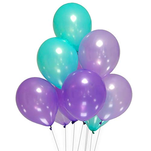 AZOWA Teal and Purple Latex Balloons 12 inch Party Decorations Pack of 100 Balloons Great for Birthday Party Baby Shower Wedding Celebration ()