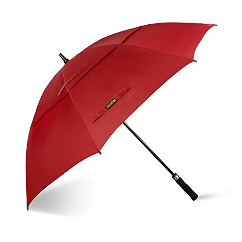 42 Inch Mini Folding Umbrella - Hippih 62 Inch Automatic Open Golf Umbrella Extra Large Oversize Double Canopy Vented Windproof Waterproof Stick Umbrellas with Black Carrying Sleeve