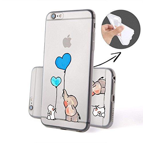 FINOO | iPhone 6/6S morbido flessibile in silicone TPU Trasparente della cassa del telefono | Cover rigida con motivo | Borsa Case Custodia con ultra slim protezione completa | Coniglio Elefante Blu p