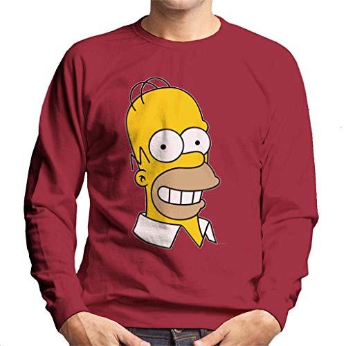 The Simpsons Smiling Homer Men's Sweatshirt Cherry Red (Marge Simpson Sweatshirt)