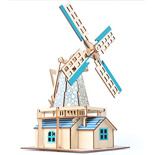 (CC-Show 3D Puzzles for Adults (77 Pieces), 3D Wooden Puzzle/Jigsaw Puzzles for Kids as Hobbies Gifts, Toys, Decoration - Dutch Windmill Model Kit)