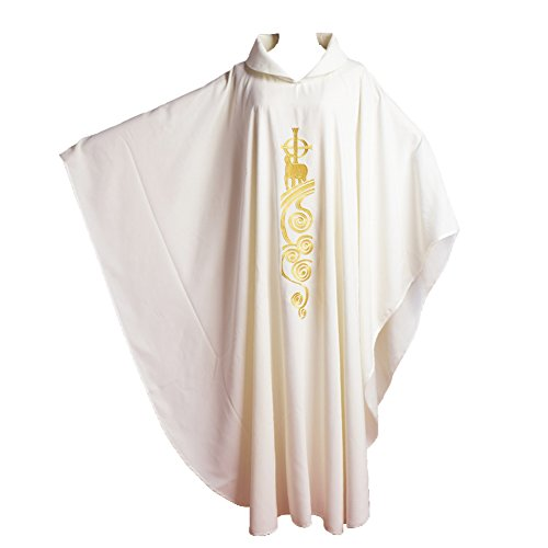 White Chasuble (BLESSUME White Catholic Church Vestments Lamb of God Embroidered Priest Chasuble Robe)