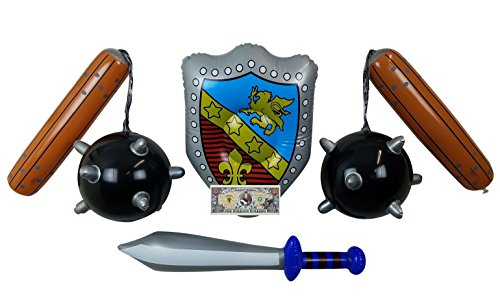 Imprints Plus 5-Piece Bundle of Toy Inflatable Medieval Battle Weapons Includes Sword, Shield, 2 Mace Balls and 1 Non-Negotiable Million Dollar Bill for Adult and Kids (103)