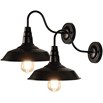 LynPon 2 Pack Black Gooseneck Barn Light Fixture Industrial Vintage Wall Sconce for Warehouse Modern Farmhouse Wall Porch Indoor Lighting