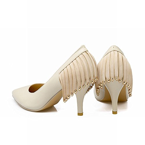 Charm Foot Womens Fashion Pointed Toe Tassels High Heel Pump Shoes Beige Apd1ib4