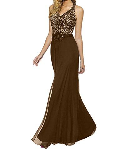 La Braun Elegant Blau Royal Bodenlang Abendkleider Marie Promkleider Partykleider Brautmutterkleider Braut Spitze wqHwx4raf
