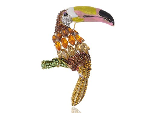 Alilang Hand Painted Beak Amazon Toucan Bird Swarovski Crystal Rhinestone Pin Brooch