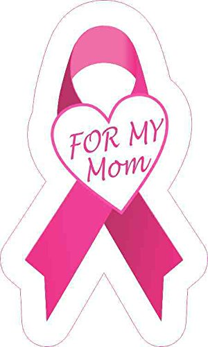 StickerTalk for My Mom Breast Cancer Ribbon Vinyl Sticker, 3 inches by 5 inches