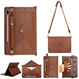 Galaxy Tab S6 Stand Cover, PU Leather Wallet Protective Cover w/Card Slot Pocket/Pen Holder/Hand Strap/Buckle Closure Shoulder Bag Book Case for Samsung SM-T860/T865/T867 Galaxy Tab S6 10.5 (Coffee)