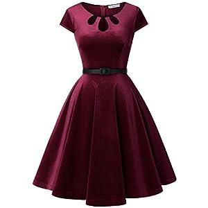 00bca99b94c5be MUADRESS 6010 Vintage Velvet Retro Cocktail Party Dress With Cap-Sleeves  Prom Dress Burgundy S