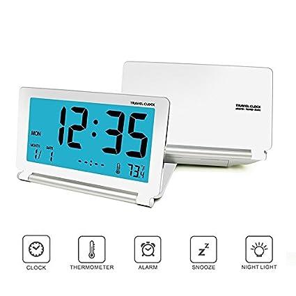 Despertador Analógico con Luz Nocturna, Plegable Pantalla LCD Reloj Digital de Viaje Para Oficina en