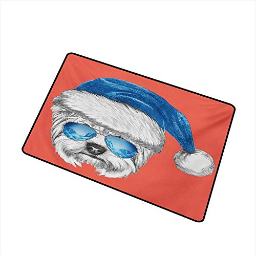 - Outdoor Doormat Yorkie Terrier with a Blue Santa Hat and Mirror Aviator Glasses Fun Hand Drawn Animal W20 xL31 Durable