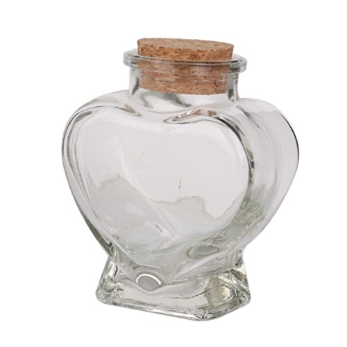 Mini Heart Shape Glass Favor Storage Jars Bottle Containers with Cork