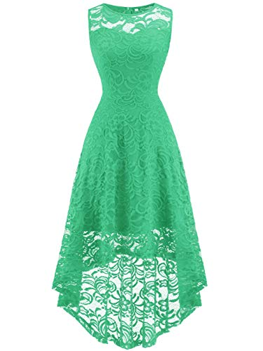 FAIRY COUPLE Women's Vintage Floral Lace Hi-Lo Sleeveless Cocktail Formal Swing Dress M Mint -