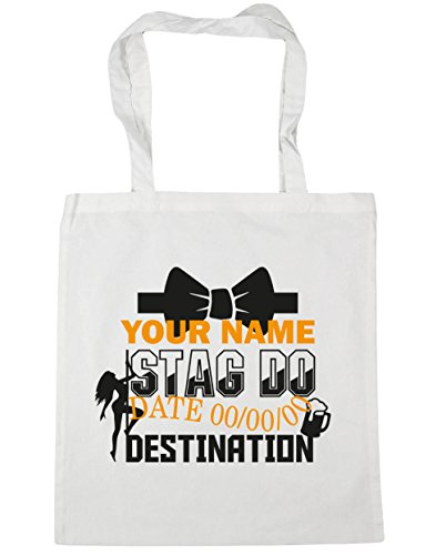 42cm 10 Personalised Bag x38cm Event Shopping Do White Tote Beach litres Stag HippoWarehouse Gym PCFwzqC