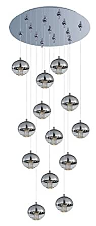 Pendants 13 Light With Polished Chrome Tones Finished LED Bulbs 21 inch 39 Watts