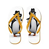 Truly Teague Men's Cool Penguins Orange Rubber Flip Flops Sandals 10.5-12