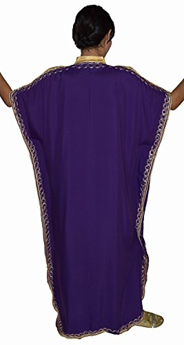 Moroccan Caftan Hand Made Top Quality Breathable Cotton with Gold Hand Embroidery Long Length Purple by Moroccan Caftans (Image #5)