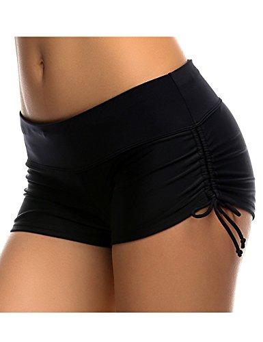 Damen UV Schutz Schwarz Wassersport Schwimmen Bikinihose Badeshorts Schwimmshorts L