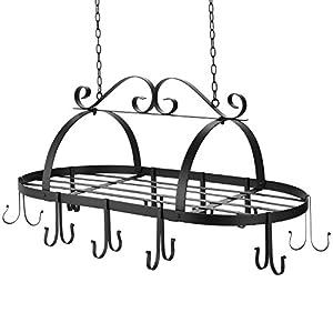 Kitchen Wall Mount Pot Storage Rack Pans Organizer hanger with Hook for Kitchen Cookware, Utensils, Pans, Books