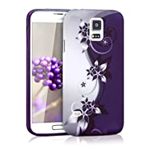 kwmobile TPU SILICONE CASE for Samsung Galaxy S5 / S5 Neo / S5 LTE+ / S5 Duos Design flowers Yin Yang white violet - Stylish designer case made of premium soft TPU