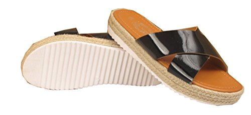 Cross Espadrille 3 uk On Over Slip Nero 36 Womens Us Eu 5 Ladies Sandali Shine Shiny Summer wfqntA1