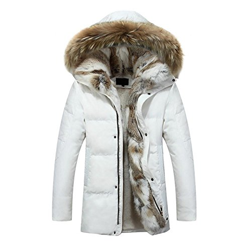 Hzcx Fashion Men's Fur Collar Hoodied Warm Fleece Lined Down Jackets and Coats 2016091201-385-W-US M(38) TAG XL ()