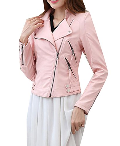 ARRIVE GUIDE Women's Slim Solid Zip-Up Faux-Leather Motorcycle Short Jacket Pink X-Small (Womens Jacket Jimmy)
