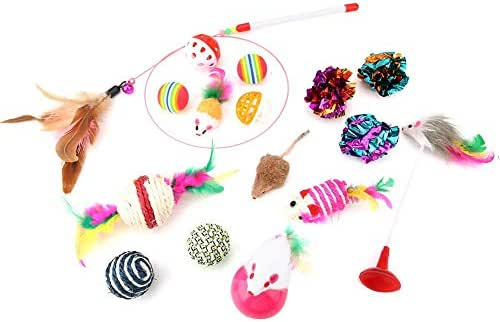 Sheens Cat Toys Kitten Toys Assortments, 16pcs Variety Kitty Toy Set Including Funny Cat Stick Colorful Ball Sisal Mouse Interactive Toy Random Color