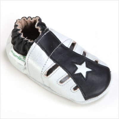 Momo Baby Soft Sole Baby Sandal Shoes   Star Black  12 18 Months