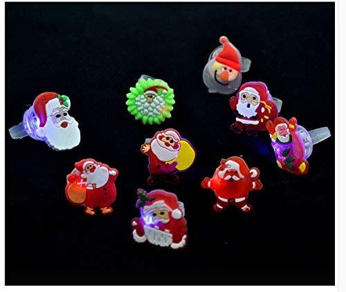 (NeDonald Christmas Flash Light Santa Claus Ring Kid Toy Party Favor Supply Bag Prop Gift(10pcs,Random Colors))