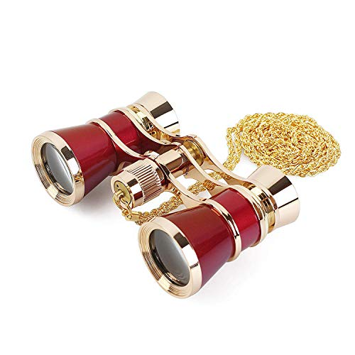 (Opera Glasses Binoculars 3X25 Theater Glasses Mini Binocular Compact Lightweight with Handle for Adults Kids Women in Musical Concert (Red with Chain))