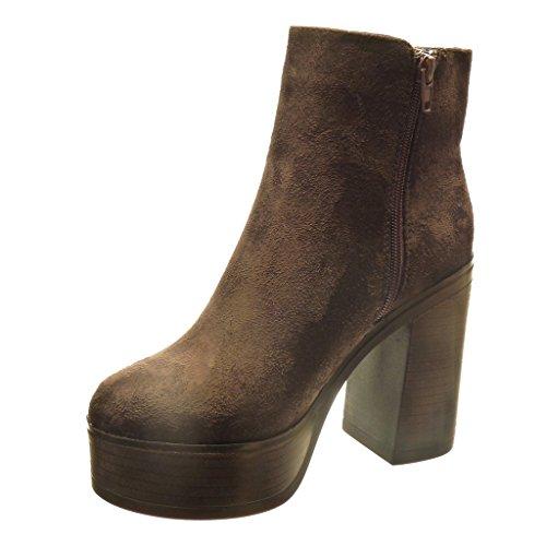 Angkorly - damen Schuhe Stiefeletten - Plateauschuhe - Hohe - Reißverschluss Blockabsatz high heel 10.5 CM - Braun