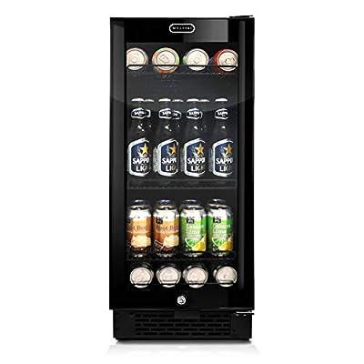 Whynter BBR-801BG Built-in Glass 80-Can Capacity Beverage Refrigerator, 3.4 cu. ft., Black