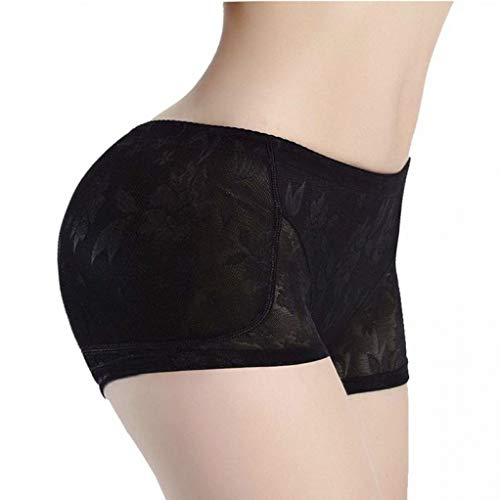 Women Shapewear - Lowrise Lace Hip Lift Butt Enhancer - Removable Push-Up Foam Pads Tummy Control Black