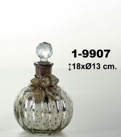 DonRegaloWeb - Botella de cristal redonda decorada con tapón tipo bola y lazo con flor estilo