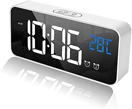 TopHGC Digitale wekker LED spiegel wekker niet tikken met temperatuur display 4 graden helderheid niveaus snooze functie voor slaapkamer nachtkastje wit