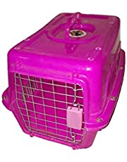 Plastic cage portable for cats and dogs 30x47 cm - Pink