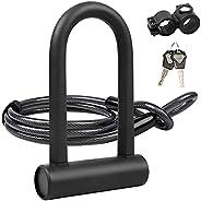 UBULLOX Bike U Lock Heavy Duty Bike Lock Bicycle U Lock, 16mm Shackle and 4ft Length Security Cable with Sturd