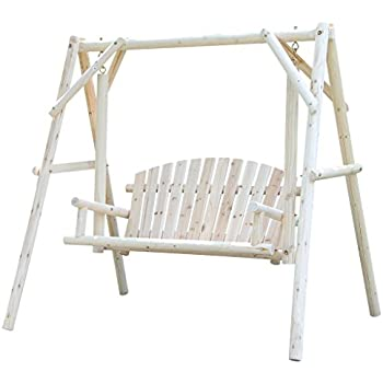 Amazon Com Wooden Patio Swing Rustic Outdoor Furniture