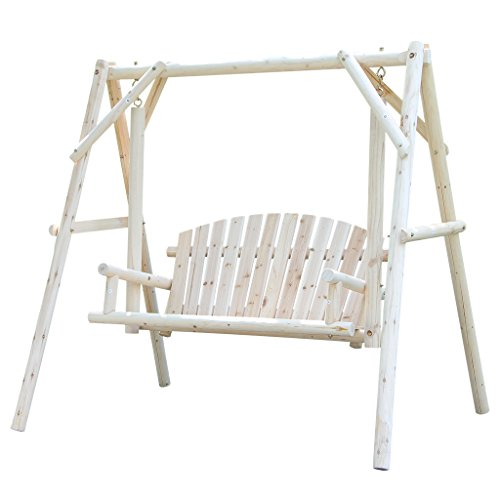 Wooden Patio Swing Rustic Outdoor Furniture, Durable Garden Bench