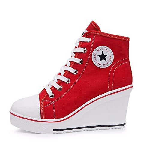 Mujer Cuñas Zapatos 35-43 EU De Lona High-Top Tacón 7 CM Zapatos Casuales Talla Grande Zapatillas de Cuña para Mujer…