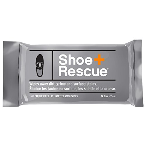 ShoeRescue All Natural Shoe Cleaner for Leather & Suede Shoes & Boots - Resealable Pack of 15 wipes