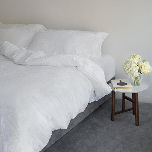 Italian Linen Duvet Cover - Huddleson White Vintage Washed Pure Italian Linen Duvet Cover - Queen